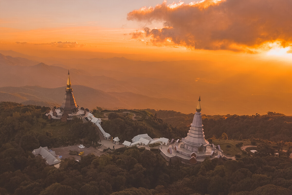 the ancient temple located on the top of the hill in Chiang Mai, Thailand.