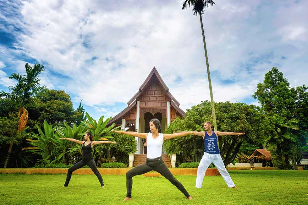 Yoga class at The Dawn rehab centre in Thailand