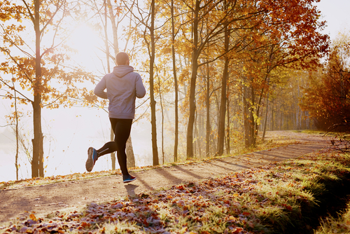a man jogging in early morning by the lake