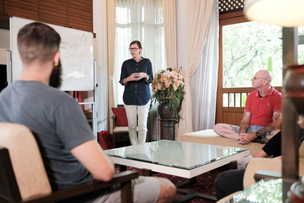 A counsellor in a group session at The Dawn addiction rehab overseas