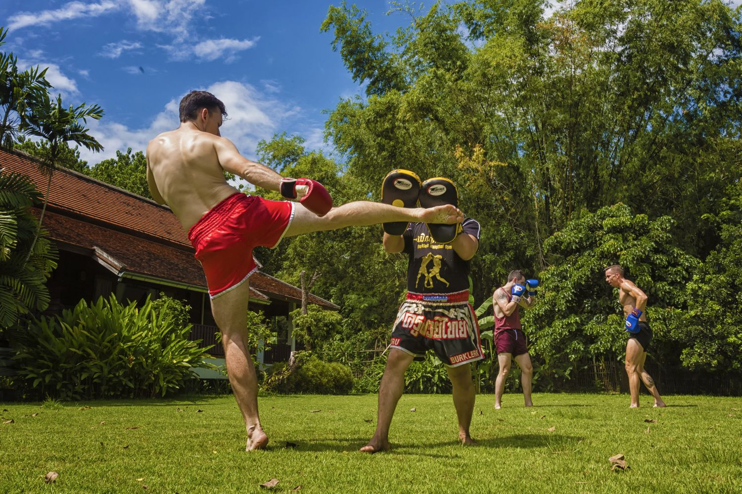 Private Muay Thai session with an experienced instructor at The Dawn rehab centre in Thailand