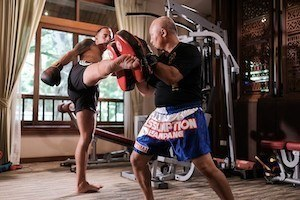 Private Muay Thai class is offered at The Dawn Rehab Thailand