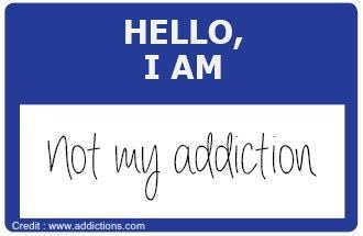 """Text that says """"hello, I am not my addiction"""""""